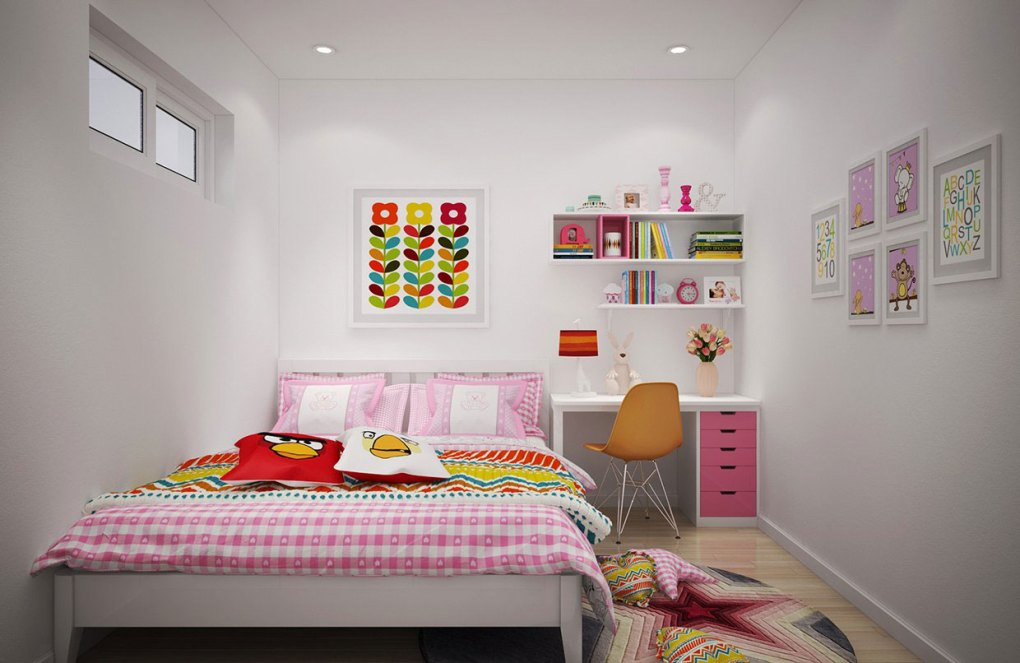Floral pattern in children room