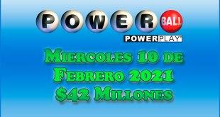 Resultados Powerball 10 de Febrero del 2021 $42 Millones de dolares