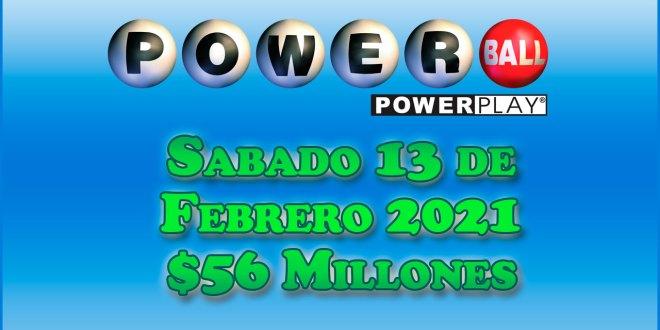 Resultados Powerball 13 de Febrero del 2021 $56 Millones de dolares