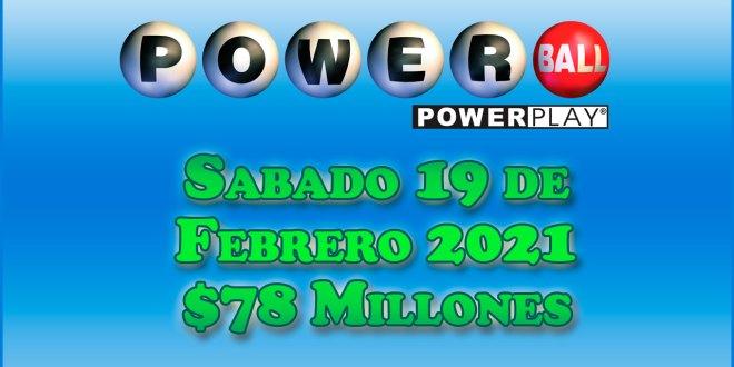 Resultados Powerball 20 de Febrero del 2021 $78 Millones de dolares