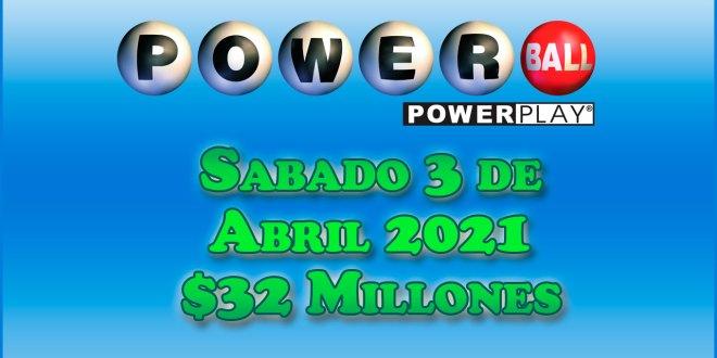 Resultados Powerball 3 de Abril del 2021 $32 Millones de dolares