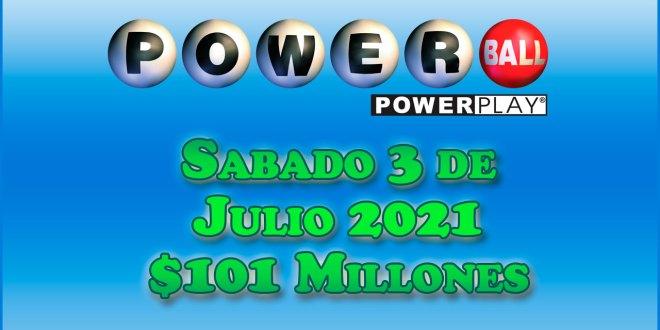 Resultados Powerball 3 de Julio del 2021 $101 Millones de dolares