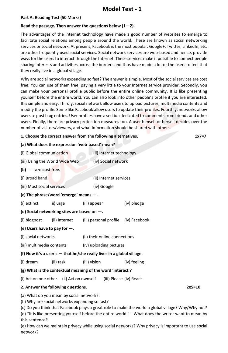 ssc english question model test