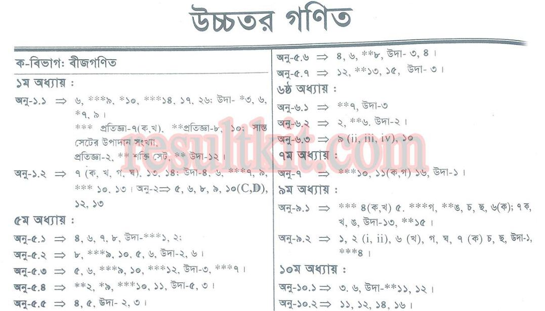ssc higher math suggestion