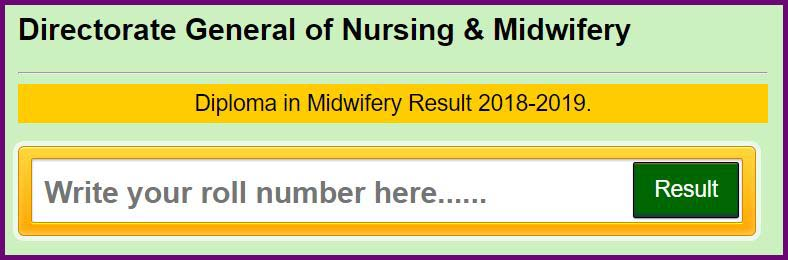 diploma in midwifery result