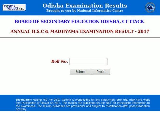 BSE Odisha Results 2017