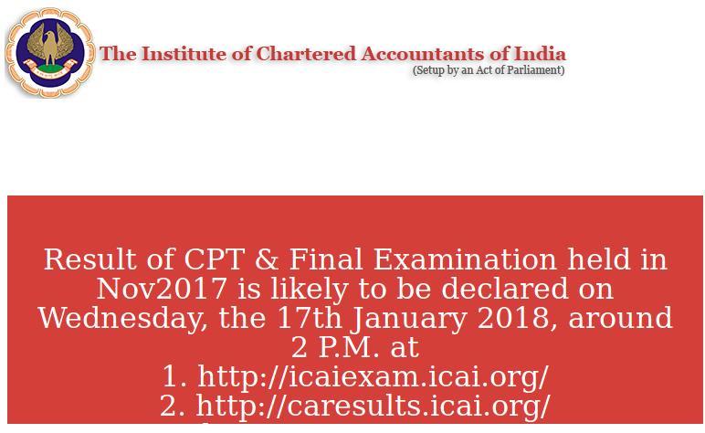 ICAI CA Result Website