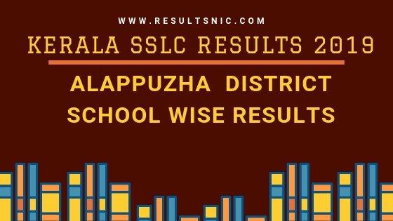 Kerala SSLC School Wise results Alappuzha District 2019