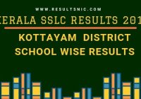 Kerala SSLC School Wise results Kottayam District 2019