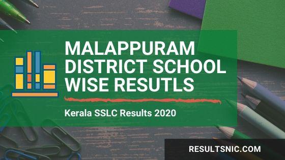Kerala SSLC School Wise results Malappuram District 2020
