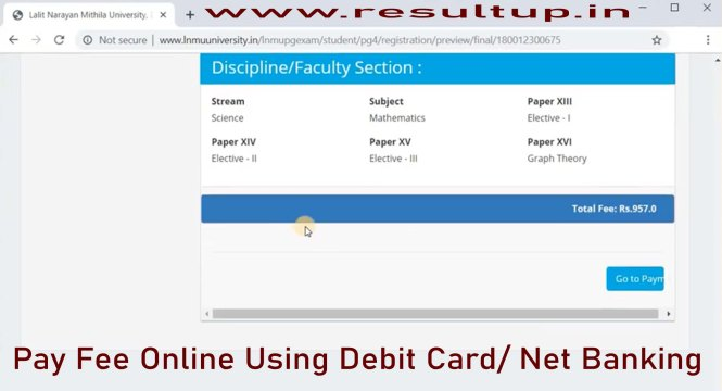lnmu pg exam fee pay online