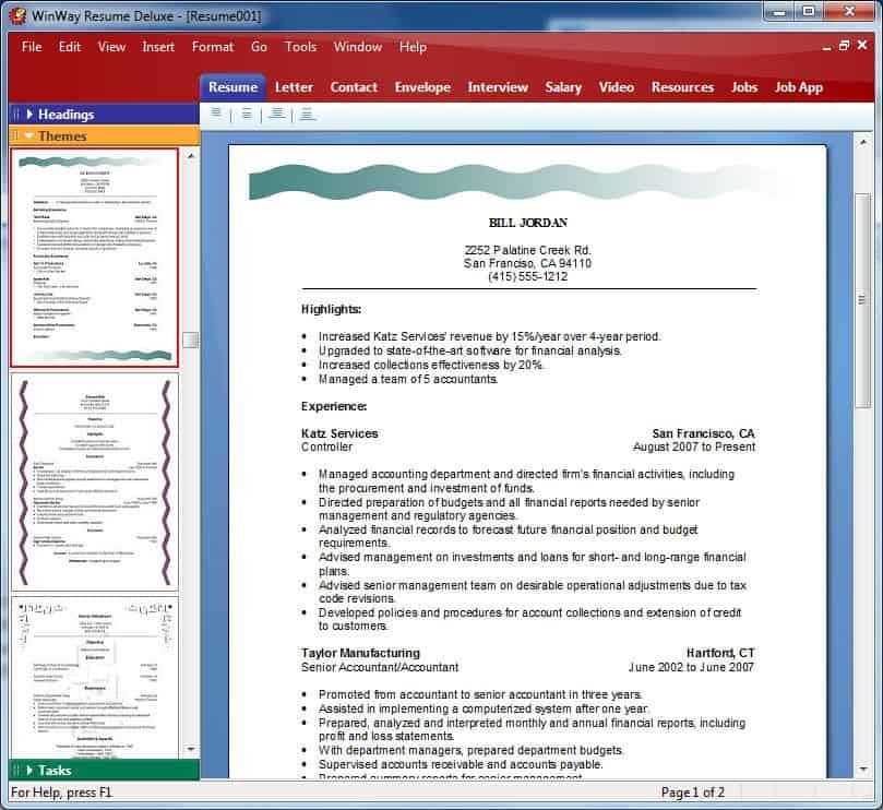templates in winway resume deluxe resume resume builder resume