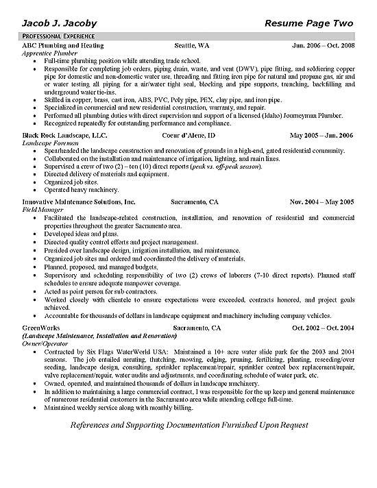 plumbing resume sample  resume sample