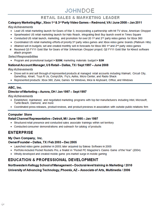 Second Page Resume Sample