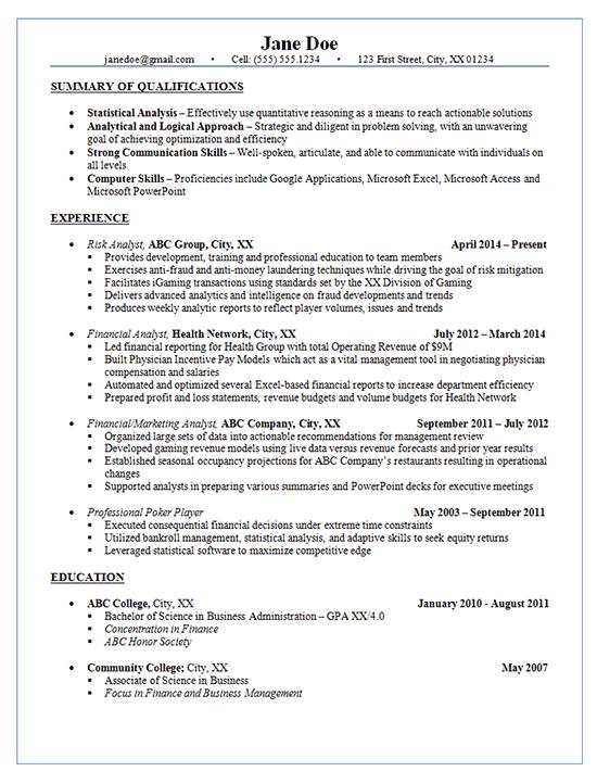 Risk Analyst Resume Example Financial Amp Marketing Analysis