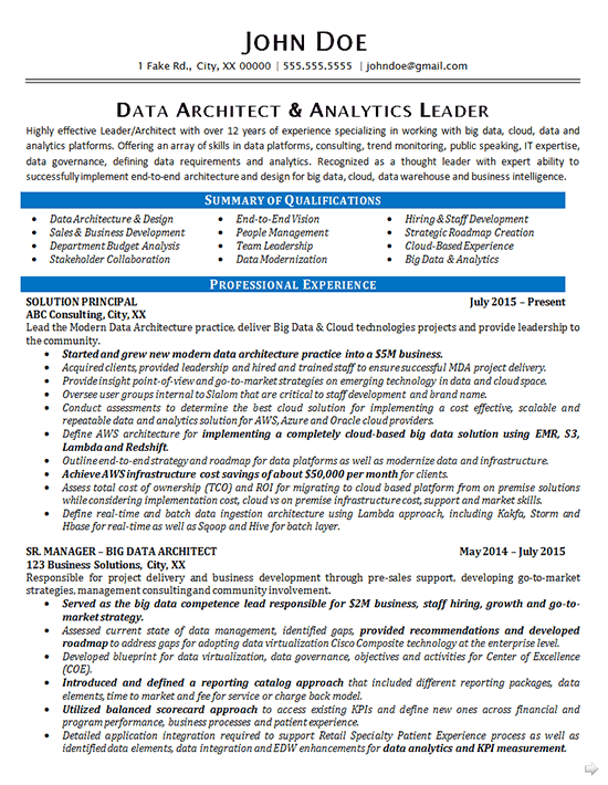 Data Architect Resume Example Data Analytics It Consultant