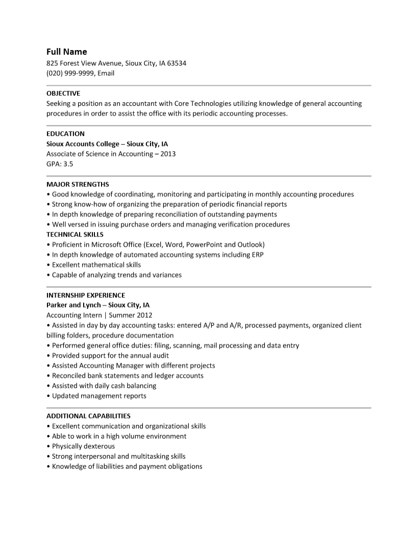 Accounting Objective Resumes Template Brefash  Accounting Objective Resume