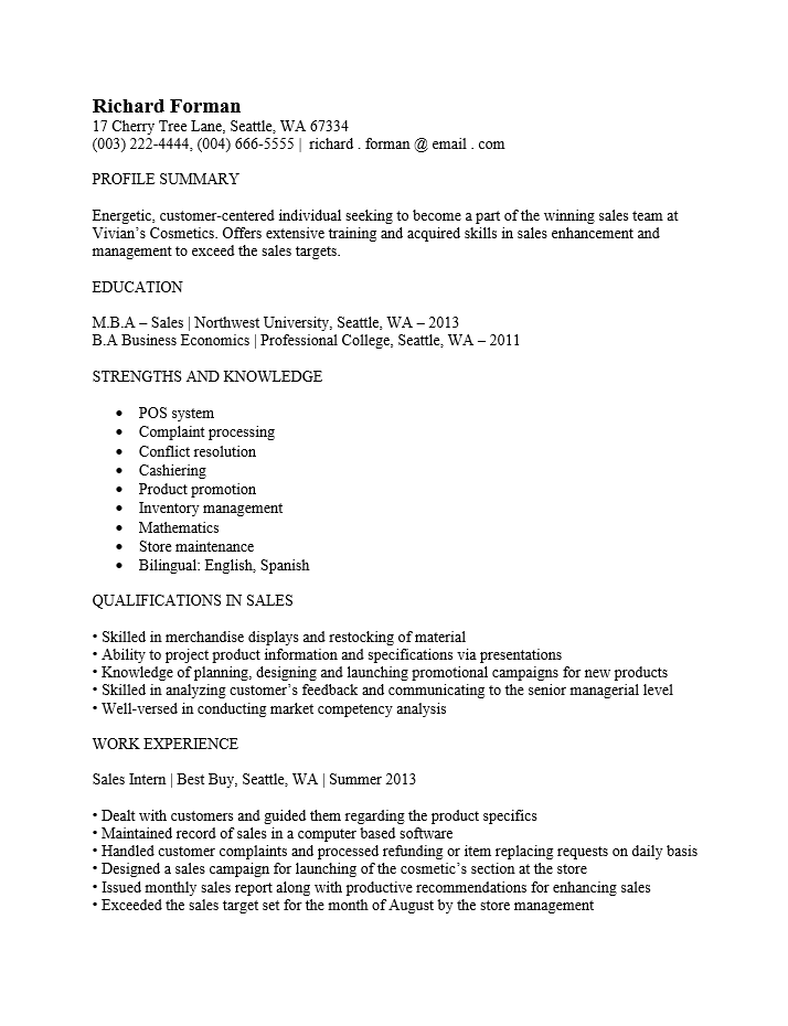 Sale Associate Resume Skills. Sales Resume Sales Associate Resume