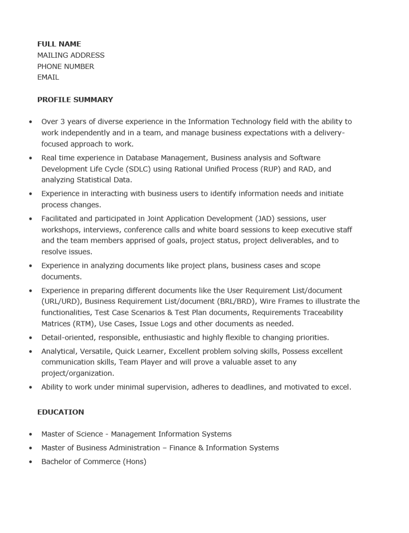 ba resume examples business analyst example inside analyst resume