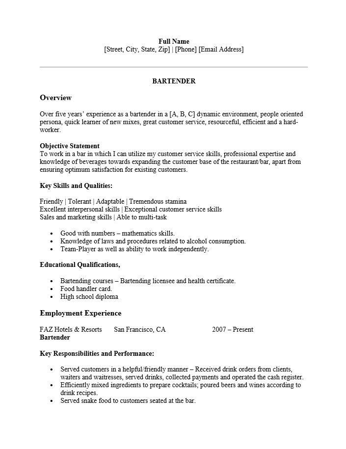 free bartender resume template examples ms word