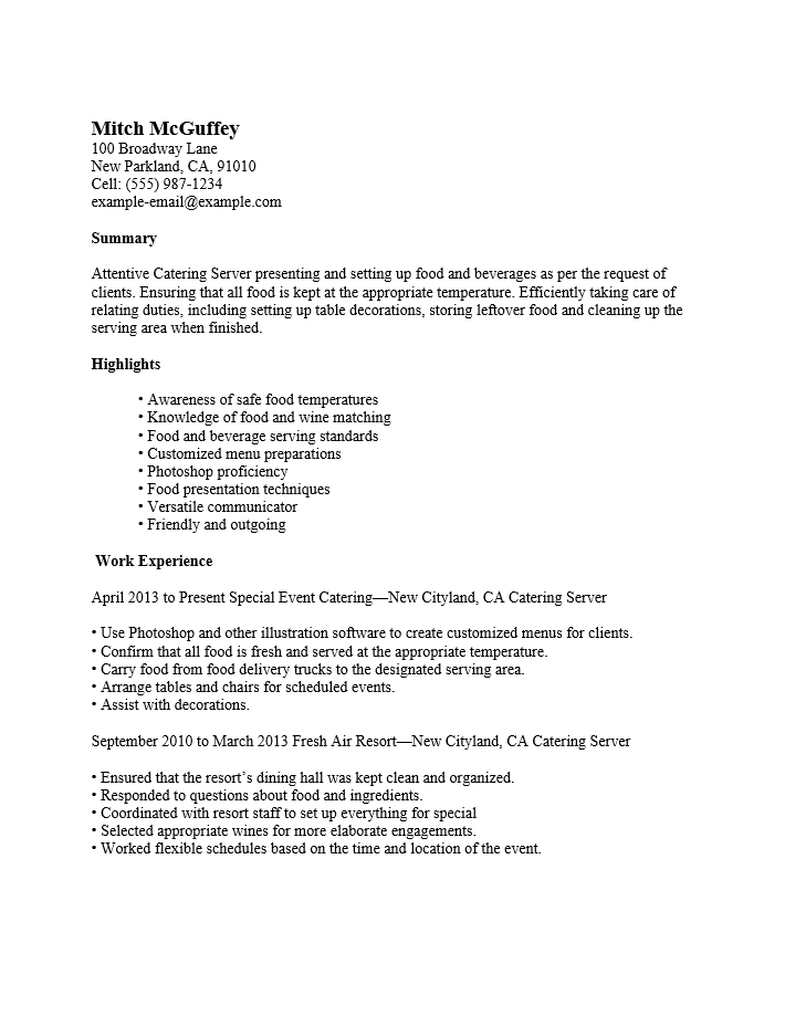Server Sample Resume. Sample Resume Restaurant Server Banquet