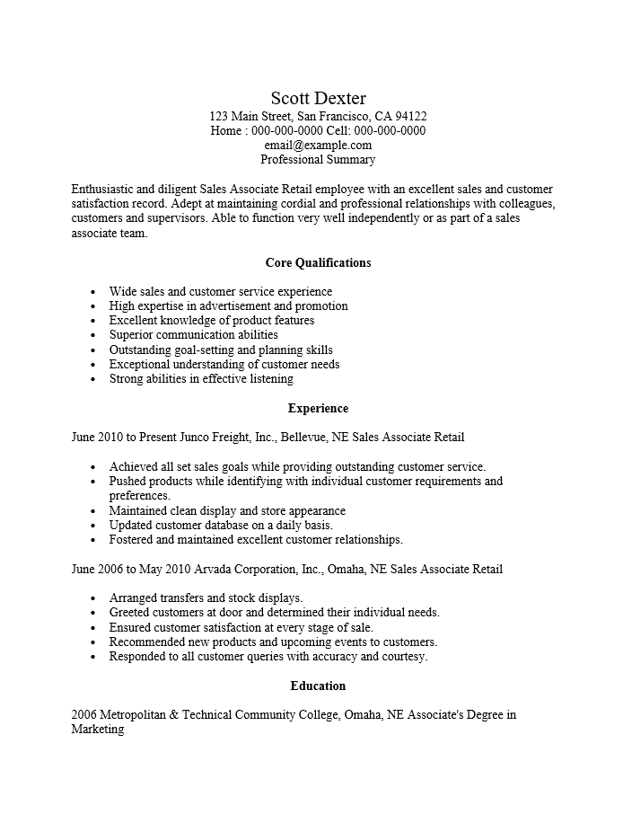 Resume Samples For Retail Sales Associate لم يسبق له مثيل الصور Tier3 Xyz