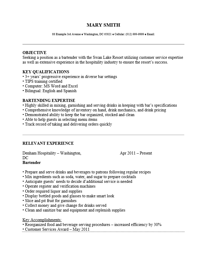 Examples Of Bartending Resumes. Cover Letter For Engineer