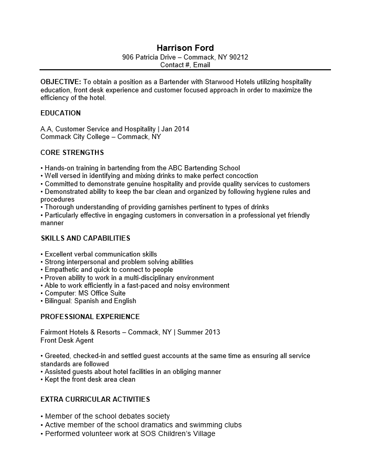 Sample Of Bartender Resumes. Bartender Resume Example Sample