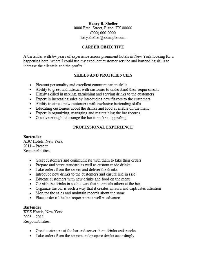 Cocktail Server Resume. Resume Resume Sample Cocktail Resumes Bar