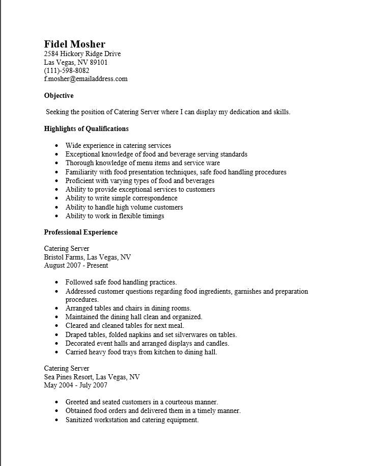 resume examples for catering server - Template