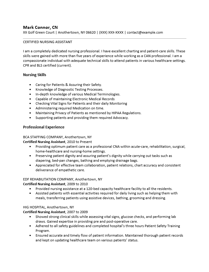 Resume Examples Nursing Assistant. Cna Resume Template 7 Download