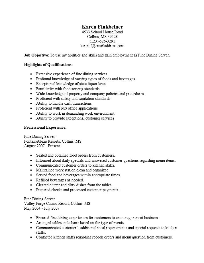 Best Waitress Resume. Waitress Resume Sample Best Of Sample Resume