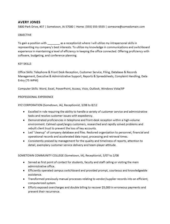 Receptionist Resume Format Sample resume resume cover – Receptionist Resume Format