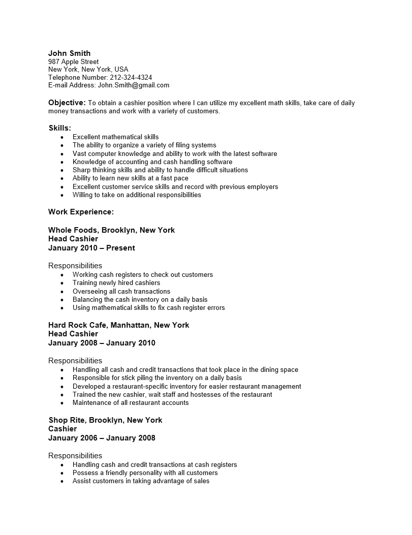 Sample Resume Retail Cashier