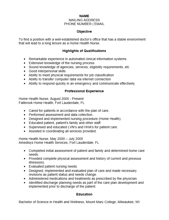 Home Health Care Nurse Resume. Home Health Aides Resume Examples
