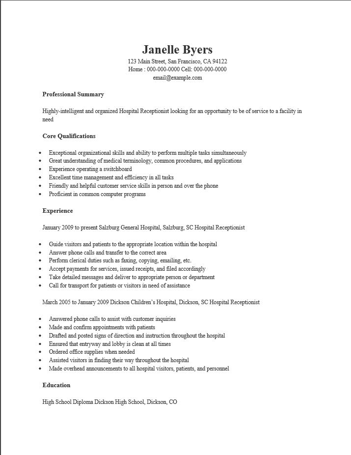 Gym Receptionist Resume Examples receptionist administrative – Resume for Receptionist