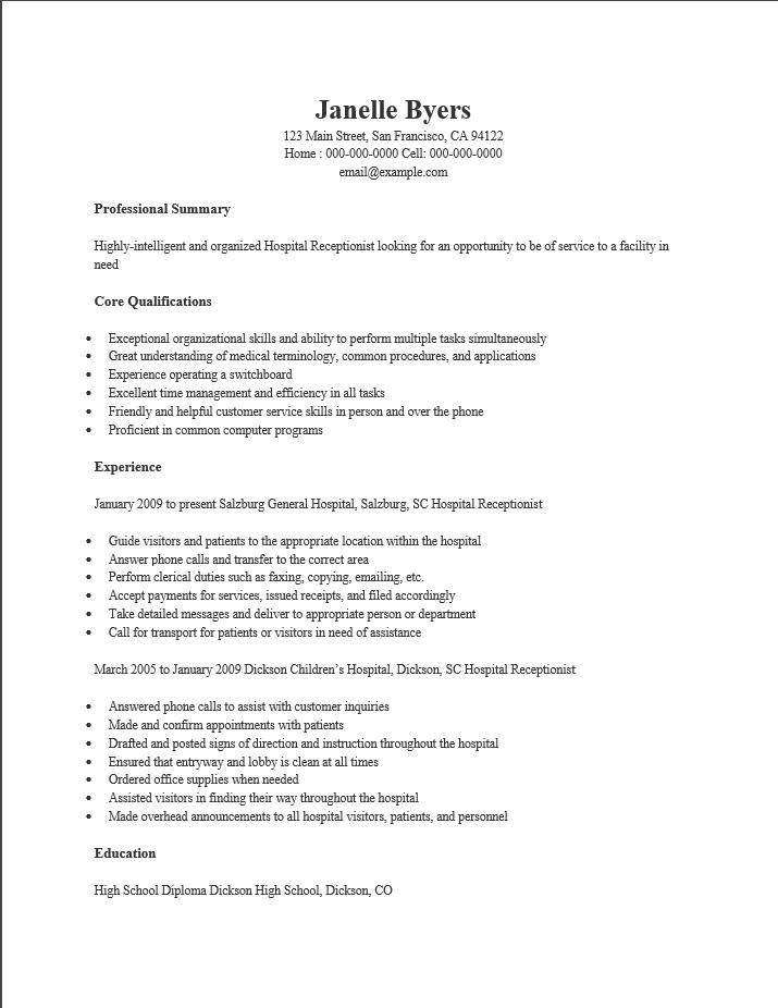 Hospital Receptionist Resume. Resume Samples For Receptionist Best