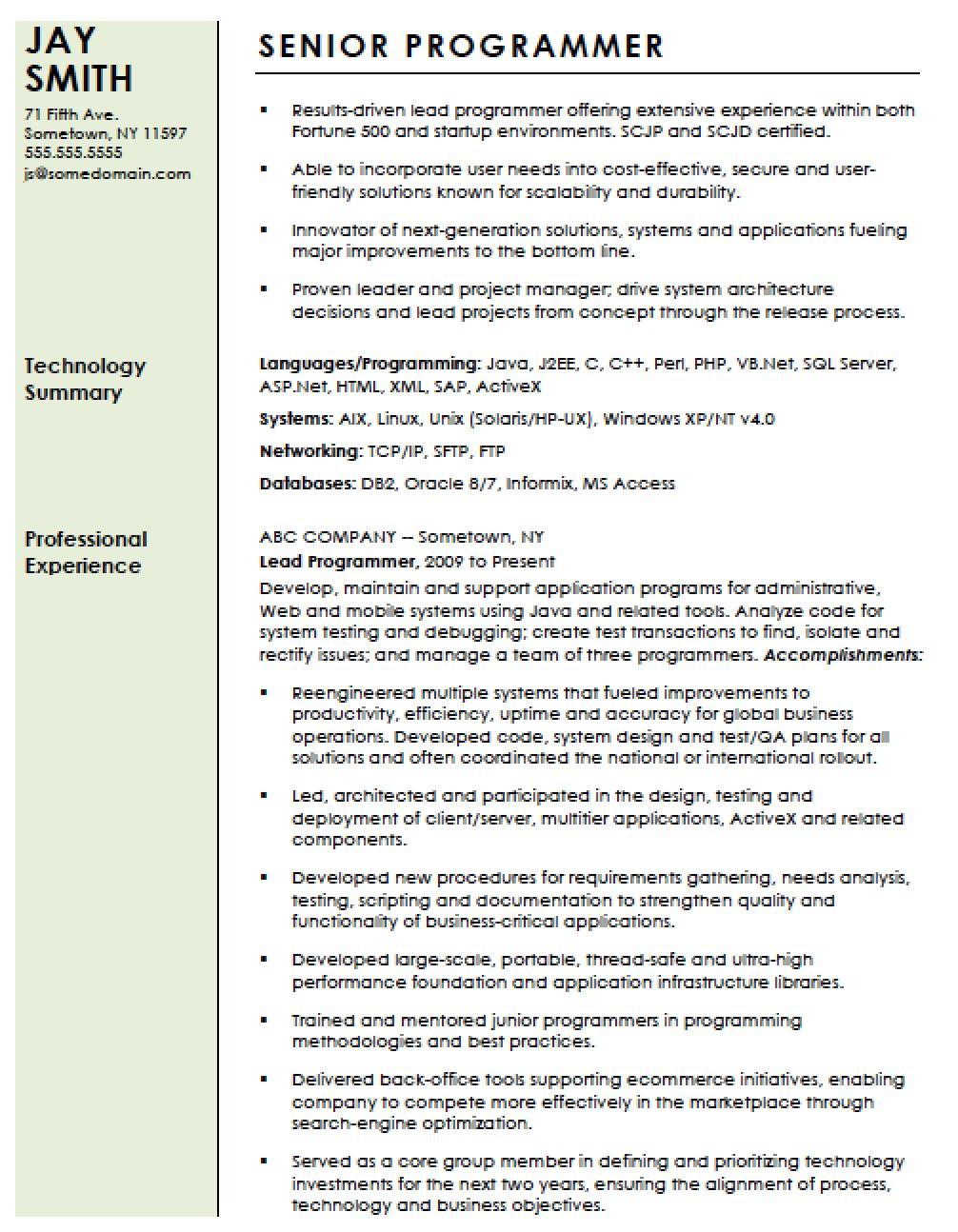 computer programmer resume net developer resume years experience game programmer resume