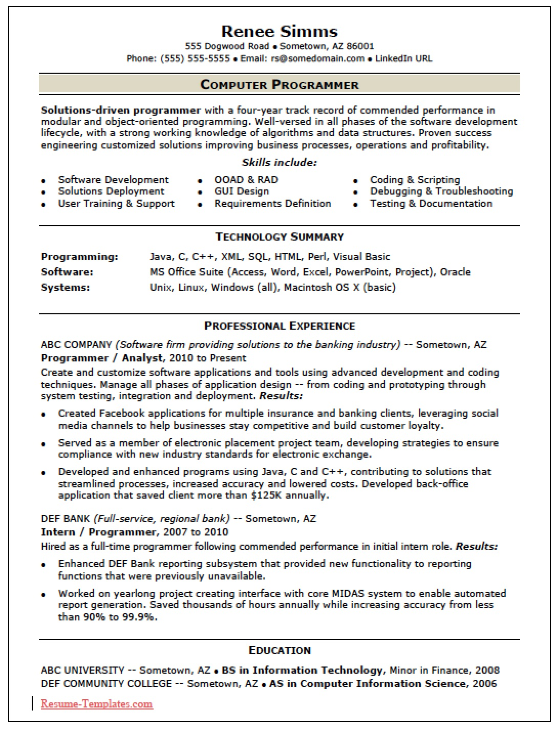 free skilled computer programmer resume template sample ms word