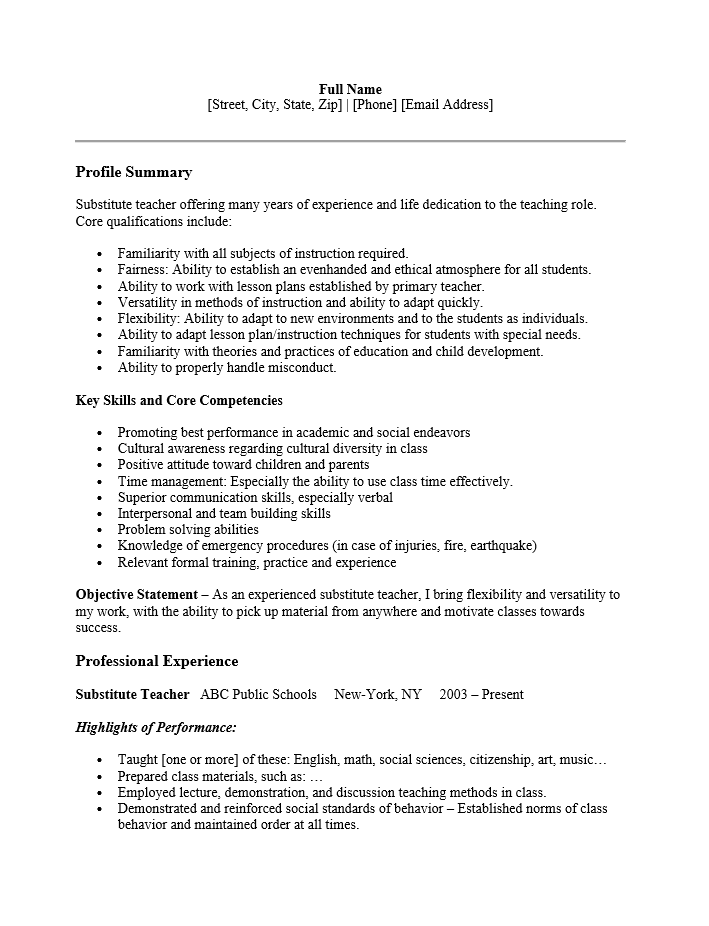 Teacher Sample Resume Doc. Teacher Resume Samples Substitute