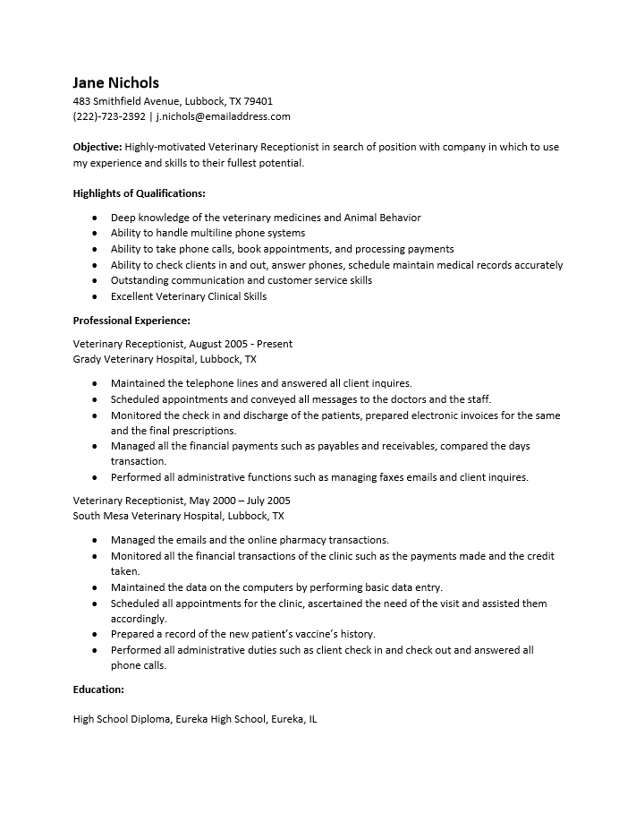 Receptionist Resume Samples. Resume Sample Resume Medical