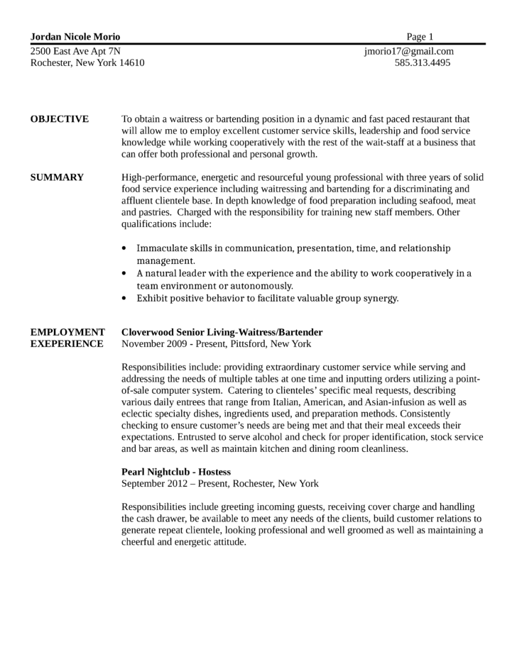 Bartending Resume Duties. Professional Template. Resume Examples
