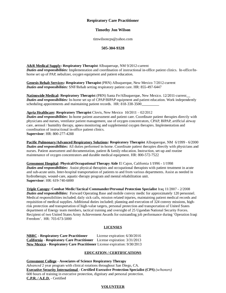 resume examples sample resume for respiratory