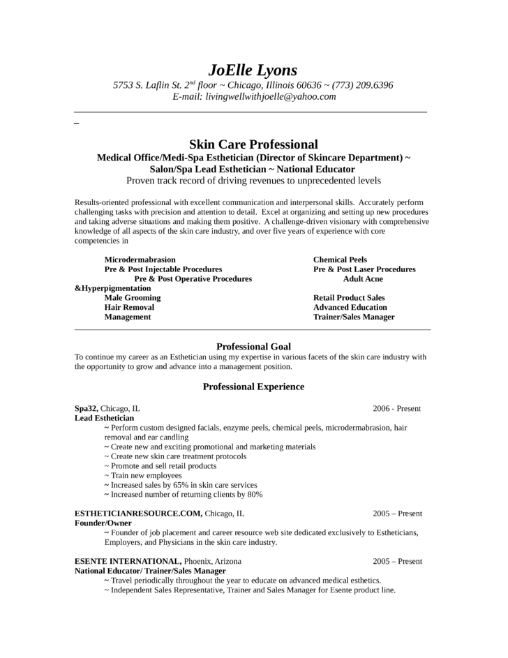 Medical Esthetician Resume Sample Job And Resume Template.  Esthetician Resume