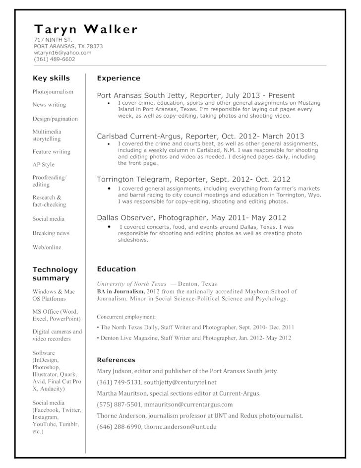 news reporter resume sample resume sample page resume news