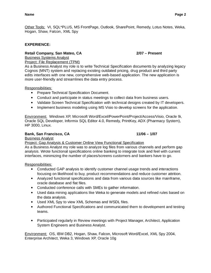 combination business analyst resume template page 2