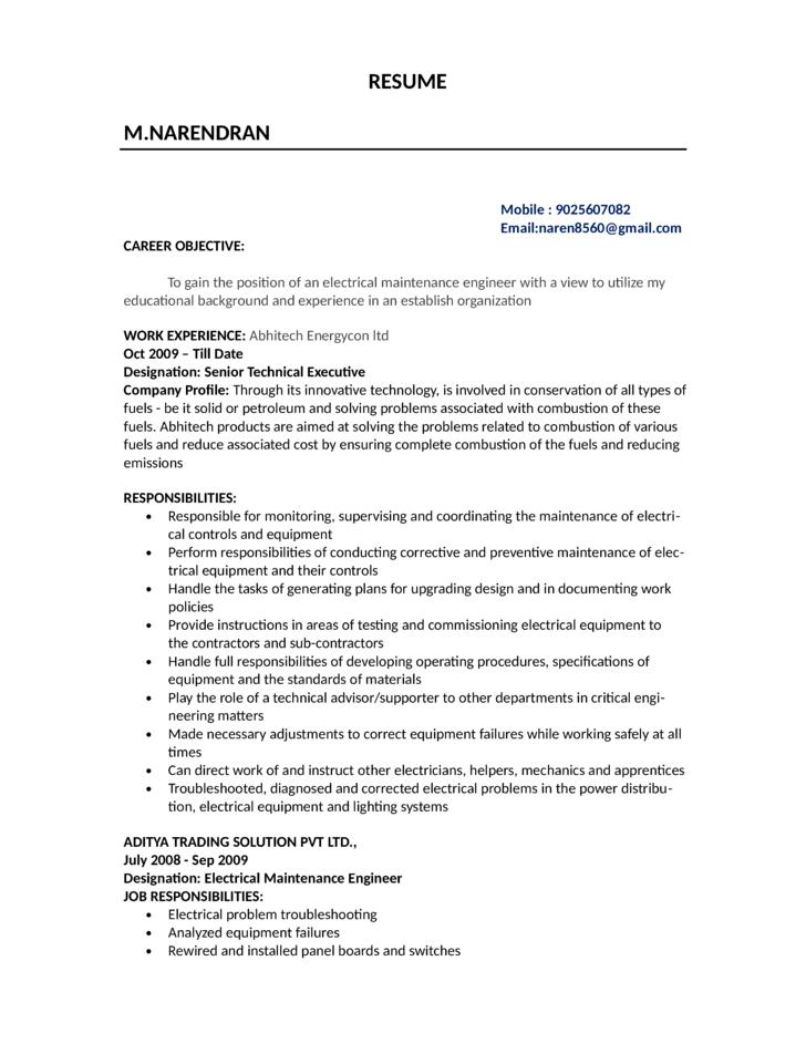 Electricians Resume. Electricians Cv Electrician Resume Example