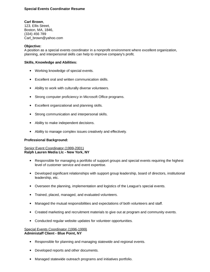 Events Coordinator Resume special events coordinator resume – Events Coordinator Resume