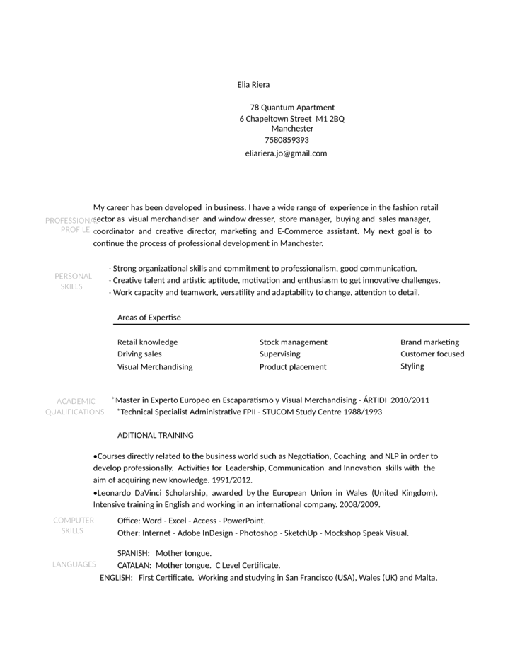 Visual Merchandising Resume Examples Marketing Looking For Work