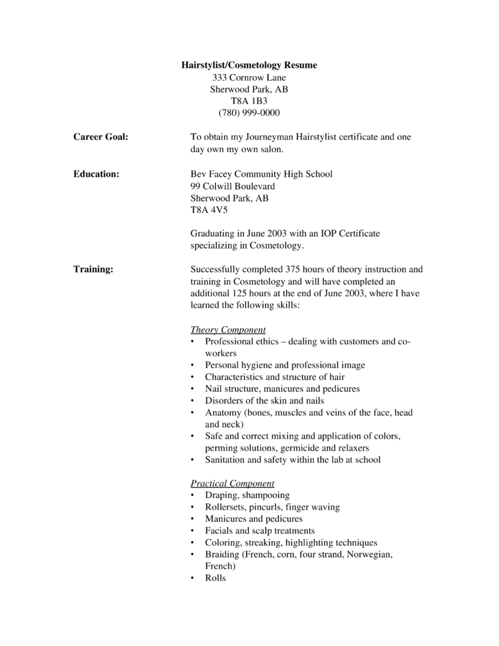 Hairdresser Resume Sample. Resume Samples Hairstylistresume